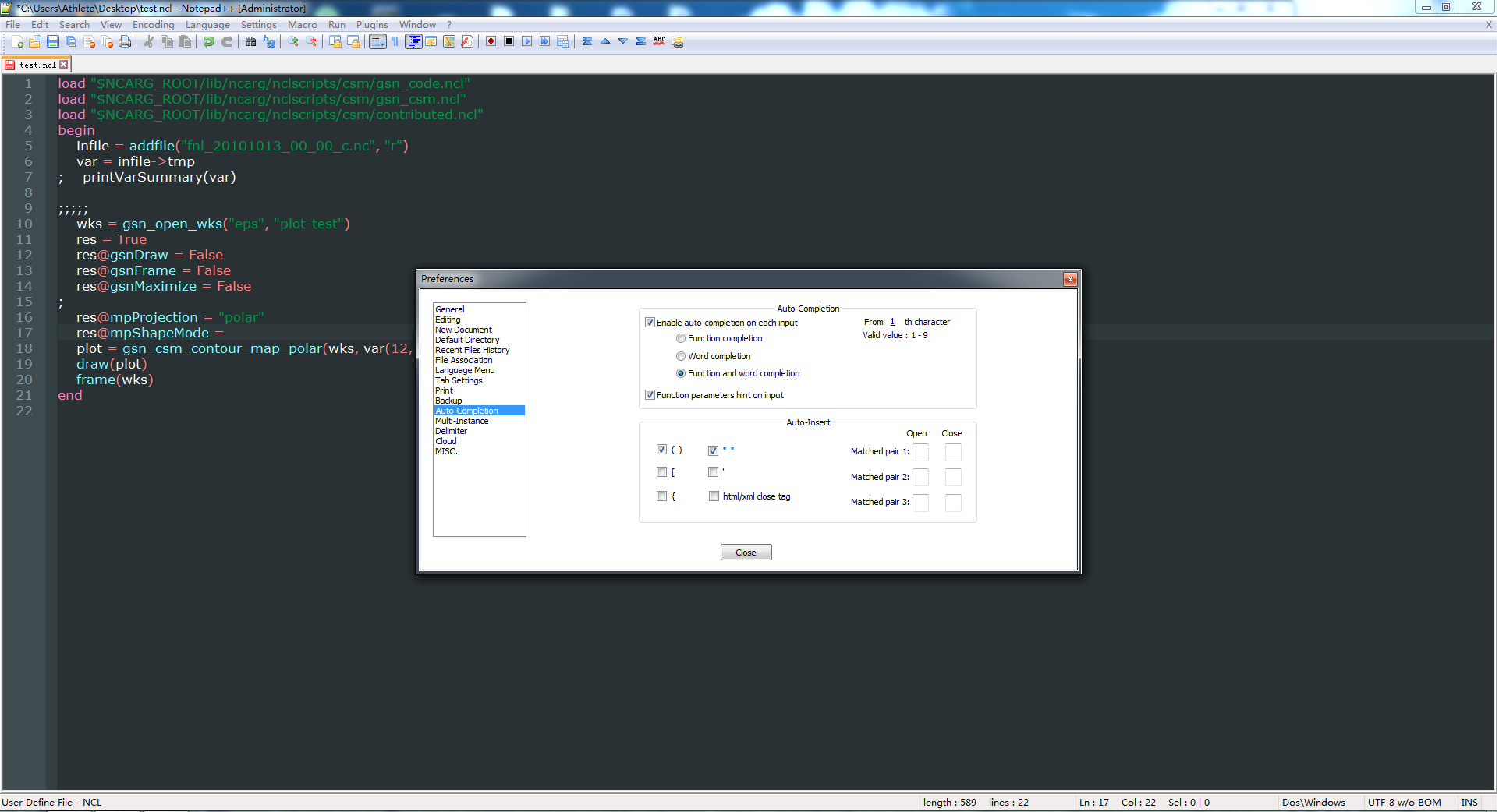 NCL: Editor Enhancements for use with NCL scripts
