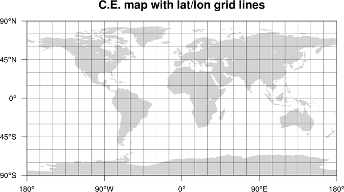 Lat Lon Map NCL Graphics: Lat/lon grid lines on maps Lat Lon Map