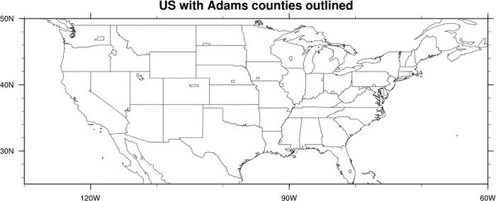 maponly_10ncl demonstrates how to draw all of the counties in the us how to draw just the counties with the name adams and then how to draw only the