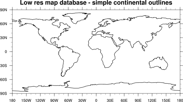 NCL Graphics Map Only Plots - Continents map outline