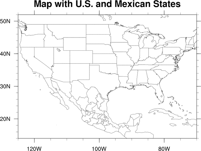 NCL Graphics Map Only Plots - Us map states only