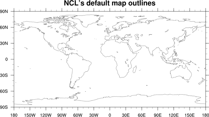 Mapoutlines_5.ncl: This Script Demonstrates The Difference In Resolution  Between The Low Resolution And Medium Resolution Map Databases Of NCL, And  A World ...
