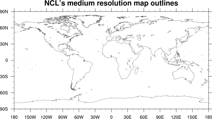 Ncl map outlines mapoutlines5l this script demonstrates the difference in resolution between the low resolution and medium resolution map databases of ncl and a world gumiabroncs