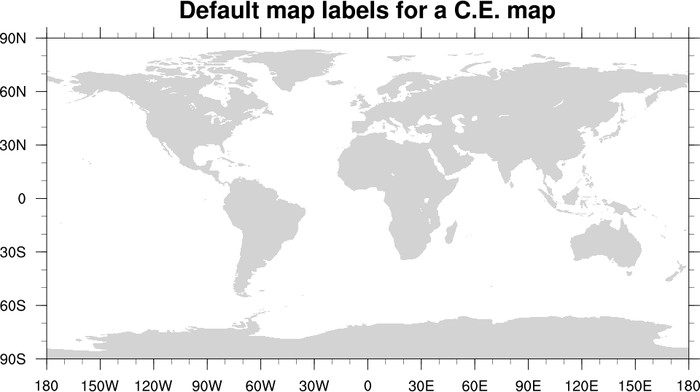 NCL Graphics Map Tickmarks - World map to label