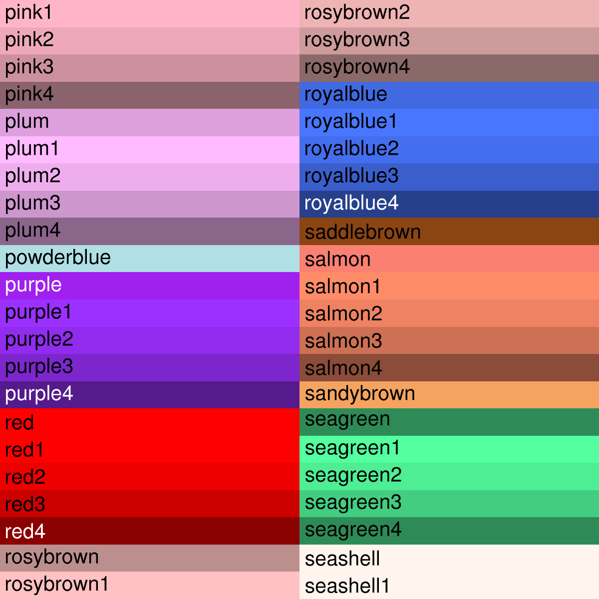 Note That Some Of The Colors Are Duplicates Like Grey1 And Gray1